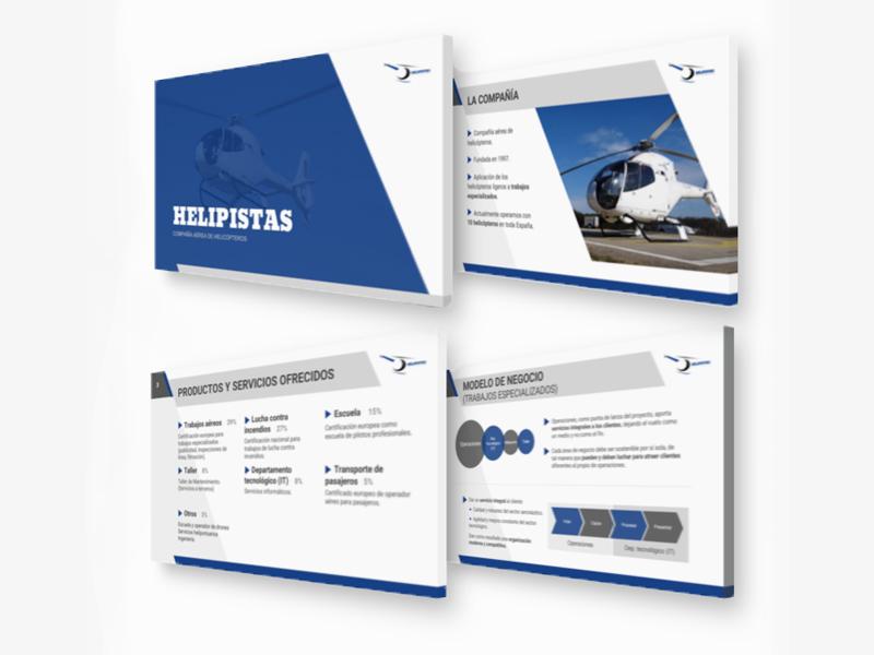 Diseño gráfico - Presentación PowerPoint - Helipistas Helicopters